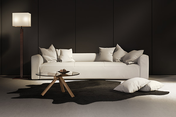 Elegant contemporary fresh interior with white sofa